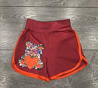 """Детские шорты для девочки """"Мишка"""" с пайетками от 5 до 8 лет кораллового цвета"""