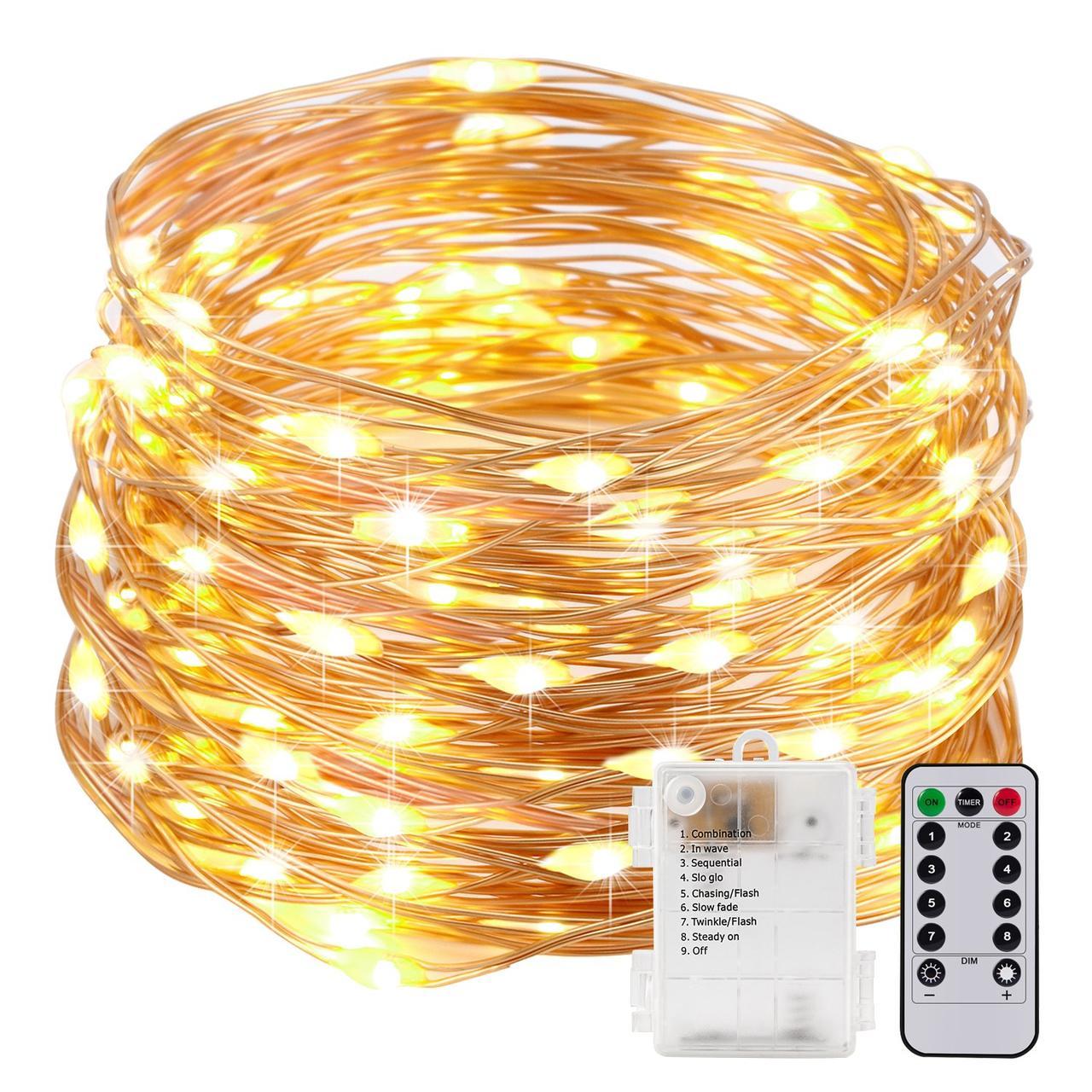 Светодиодная гирлянда 100 LED 10м  с пультом управления медная IP 67