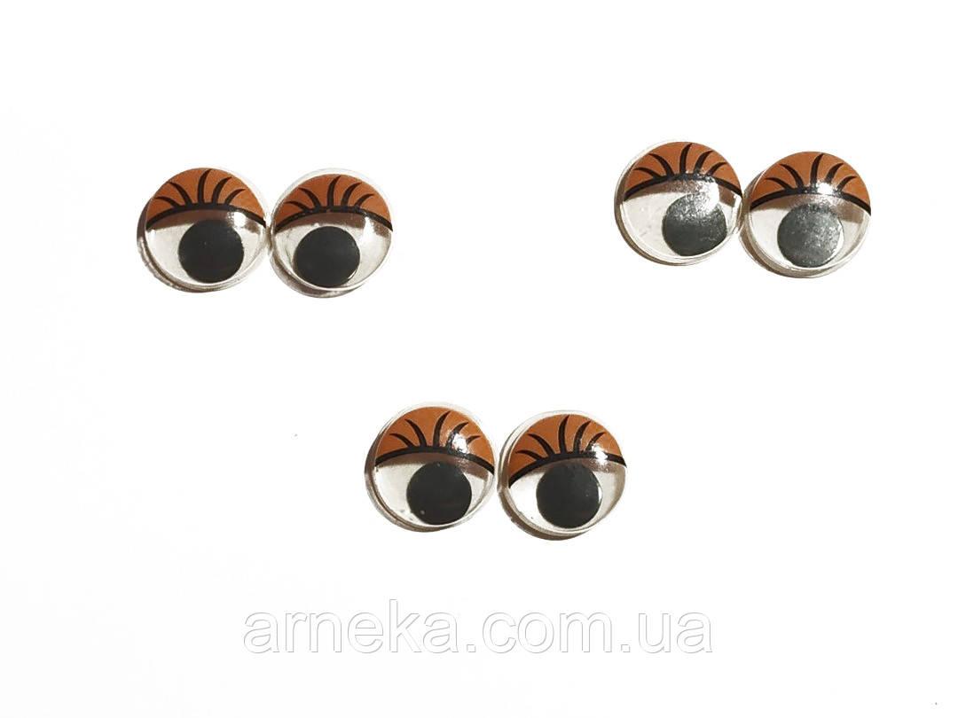 Глазки с ресничками подвижные для игрушек 14 мм