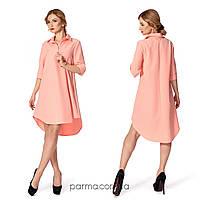 Свободное платье-рубашка (р.42,44,46,48,50) креп персик