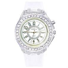 """Жіночі наручні годинники """"Geneva"""" з підсвічуванням (білий), фото 2"""