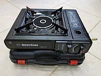 Газовая плита обогреватель туристическая  с металлокерамической горелкой Happy Home 155-А