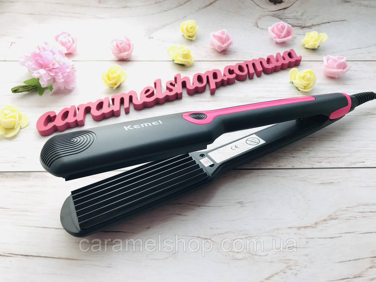 Плойка ГОФРЕ утюжок для волос Kemei KM 2116 керамика