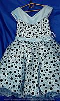 Детское нарядное платье Стиляга 9-10 лет Планочка голубое
