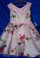 Детское нарядное платье Стиляга в Цветах 9-10 лет Планочка розовые