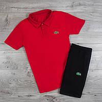 Футболка поло + Шорты ! Спортивный костюм мужской летний в стиле Lacoste Red, фото 1