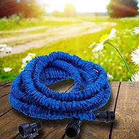 Шланг для полива X HOSE 60 м с распылителем Magic Hose усиленный Икс Хоз поливочный синий садовый для сада