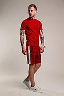 Футболка + Шорты + Скидка! Спортивный костюм мужской летний с лампасами красный