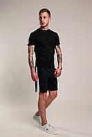 Футболка + Шорты + Скидка! Спортивный костюм мужской летний с лампасами черный