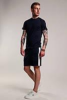 Футболка + Шорты + Скидка! Спортивный костюм мужской летний с лампасами темно-синий