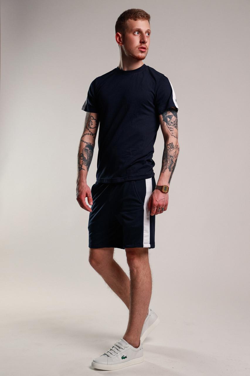 17ba7c75 Футболка + Шорты + Скидка! Спортивный костюм мужской летний с лампасами  темно-синий
