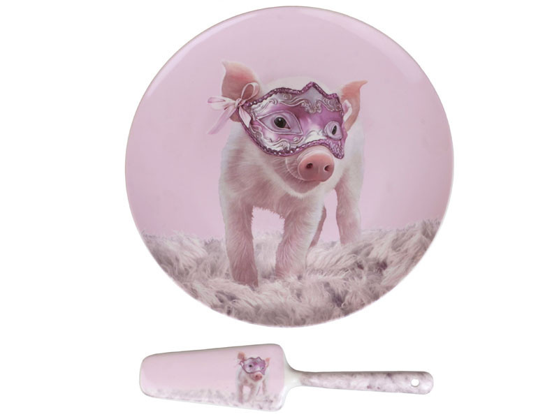 Тортовница с ложкой Lefard Свинка на маскараде 2 предмета 27 см 924-307