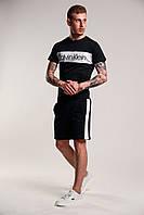 Футболка + Шорты + Скидка! Спортивный костюм мужской летний в стиле Calvin Klein черный
