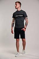 Футболка + Шорты + Скидка! Спортивный костюм мужской летний в стиле Calvin Klein Grey