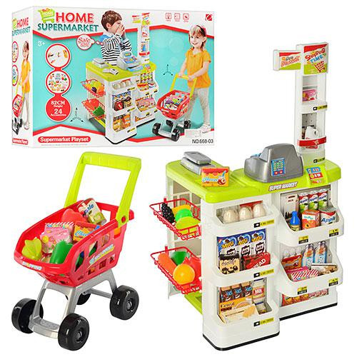 """Игровой набор """"Супермаркет"""" с кассой, тележкой и товарами 668-03"""