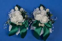 Изумрудные бутоньерки на свадьбу №3