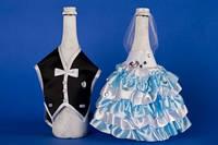 Голубое украшение для шампанского №3