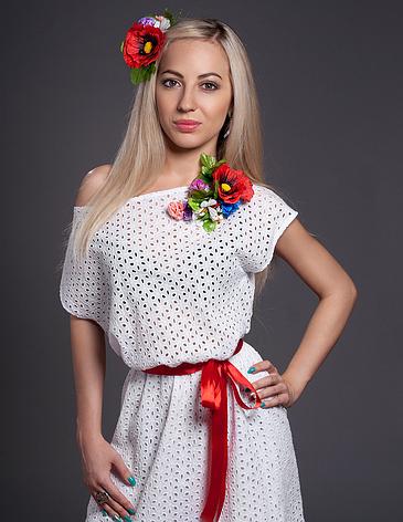 Летнее платье с цветком белое, фото 2