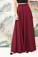 Женская юбка в пол с разрезом, бордовая. Размер: S-42