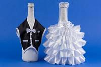 Черно-белое украшение для шампанского №14