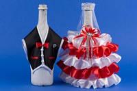 Красное украшение для шампанского №15