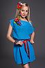 Летнее молодежное платье с цветком бирюзовое