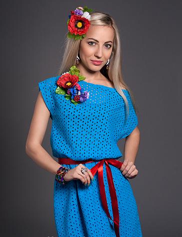 Летнее молодежное платье с цветком бирюзовое, фото 2