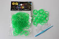 100 штук  ярко зеленых пупырчатых резиночек для плетения Loom Bands