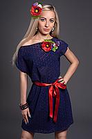 Летнее молодежное платье темно-синее с цветком, фото 2