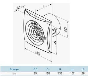 Бытовой вентилятор Вентс 100 Квайт В (оборудован выключателем), фото 2
