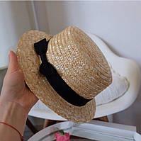 Шляпа женская соломенная украшенная лентой (К27206)