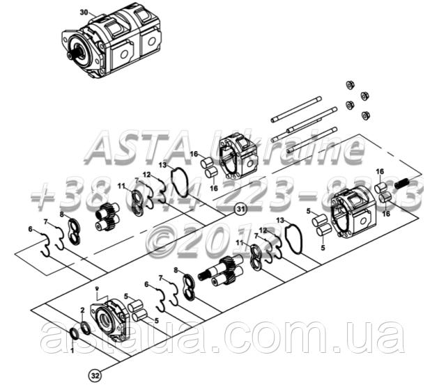 Насос, гидравлический, ХЕМА, ( 46/23 cc/rev ) E2-5-1-OP2