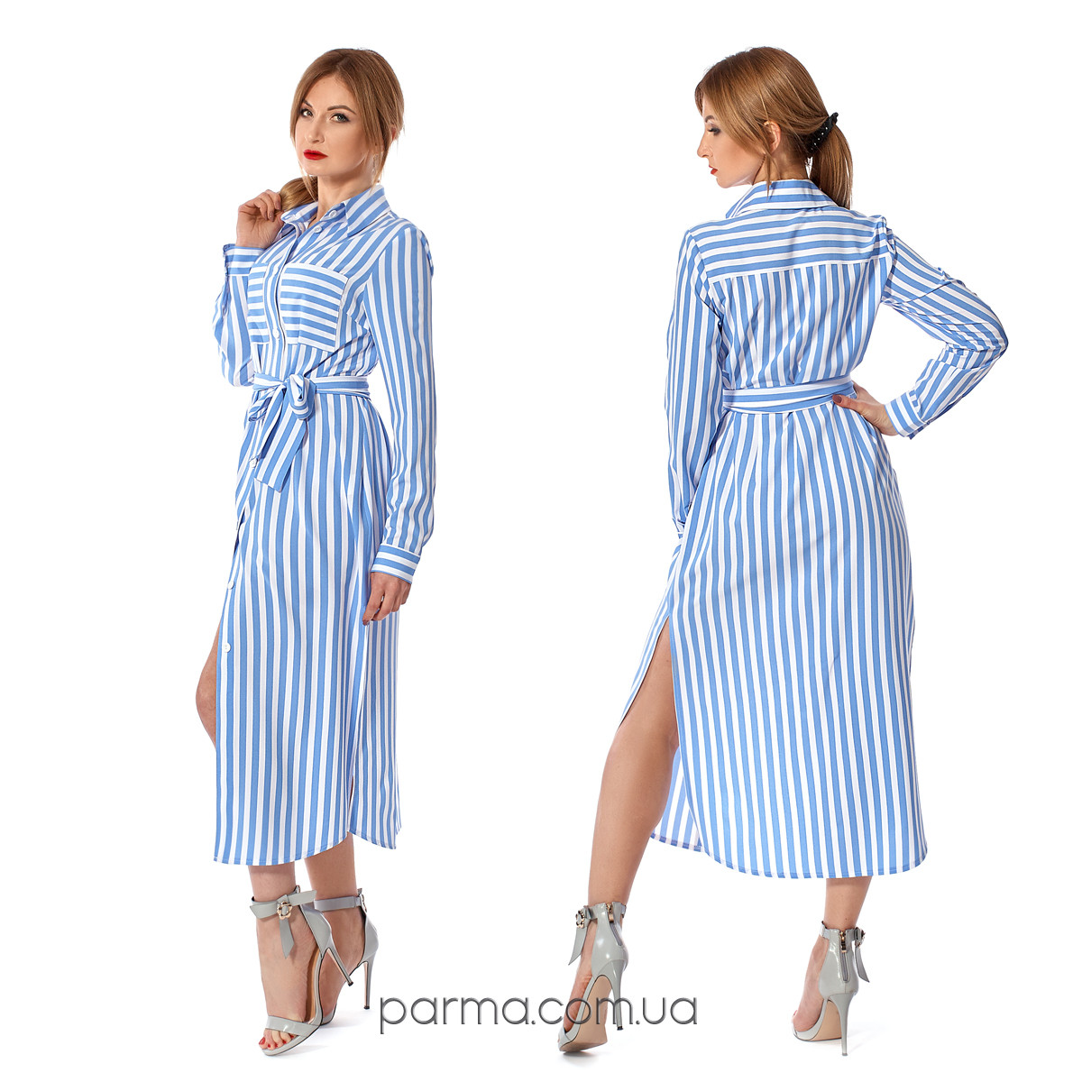 ba894921a18 Женское летнее платье-рубашка в голубую полоску (р.46) софт - Интернет