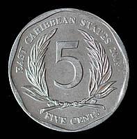 Монета Восточно - Карибских штатов 5 центов 2008 г.