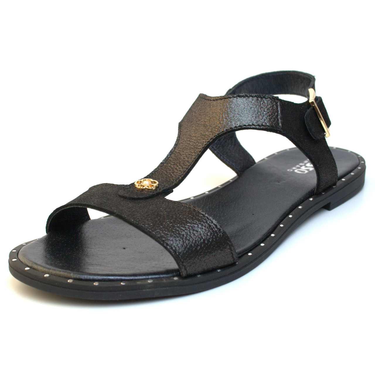 Босоножки кожаные женская обувь большой размер Butterfly Black Purple by Rosso Avangard BS черный перламутр