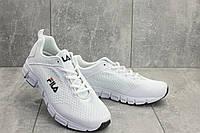 Текстильные мужские кроссовки белые летние легкие на пенке G 5104 -1 (Fila) лето