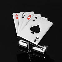 Запонки Покер Poker Star для игрока карты тузы свадебные запонки стильный аксессуар