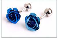 Запонки цветок  Синяя роза - для девушек, женщин, мужчин, выпускников , свадеб, торжественных мероприятий