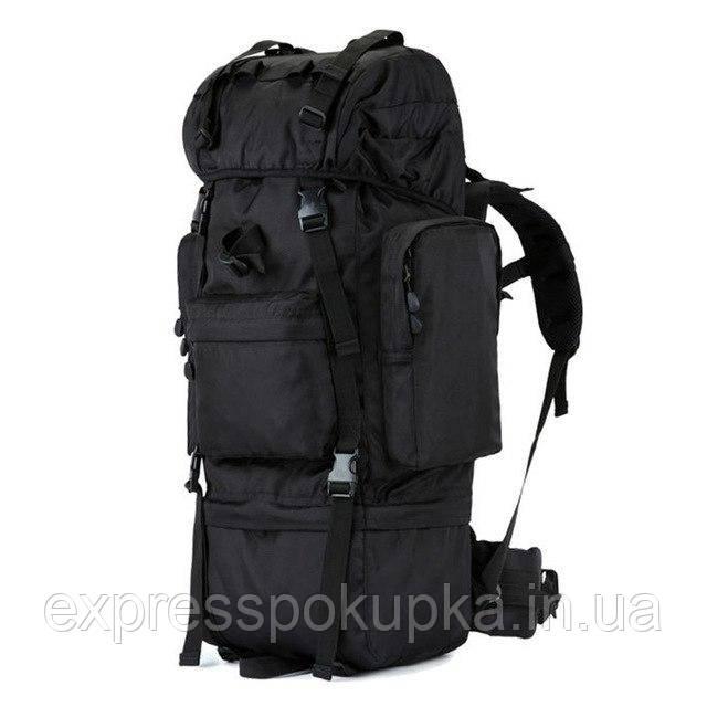 Тактический плечевой рюкзак 65 литров для охоты, рыбалки, туризма | Черный