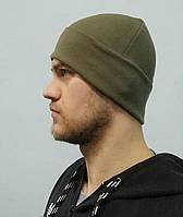 Шапка мужская с отворотом спортивного типа цвет хаки
