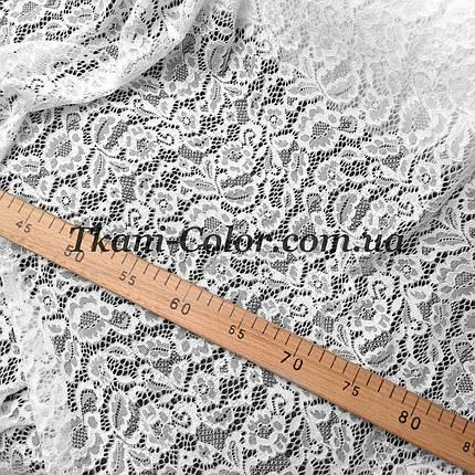 Ткань гипюр стрейч Мария белый, фото 2