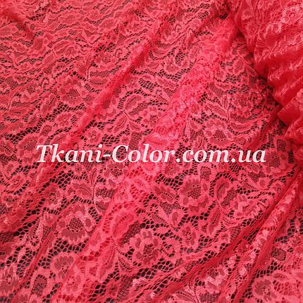 Ткань гипюр стрейч Мария коралловый, фото 2