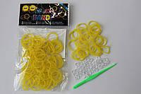 100 штук ярко жёлтых пупырчатых резиночек для плетения Loom Bands