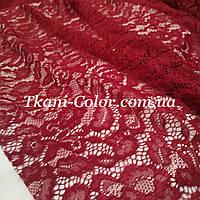 Ткань гипюр стрейч Мария бордовый
