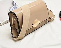 Женская сумка классическая лаковая на широком ремне Rima