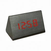 Настольные Часы VST 864 красная подсветка Чёрные брусок дерева цифровые электронные дата температура время