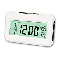 Настольные часы с термометром подсветкой Keenly kk-2616 Кинли Белые современные стильные электронные , фото 1
