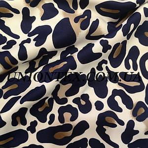 Трикотаж дайвинг принт леопард синий