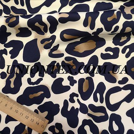 Трикотаж дайвинг принт леопард синий, фото 2