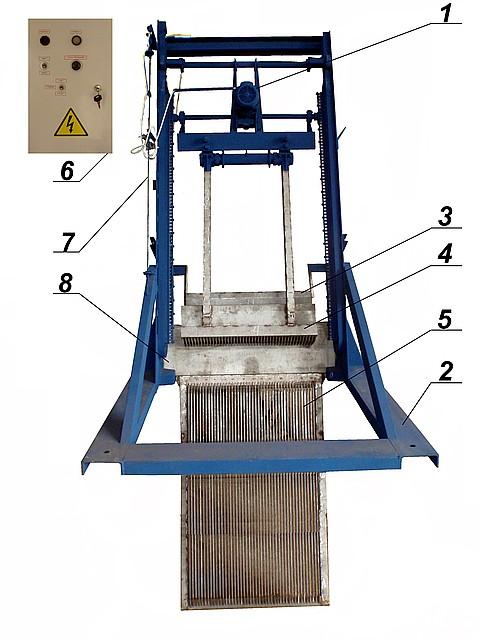 Решетка механическая грабельная рейкового типа РГР-2000 (канал 1000х1500)